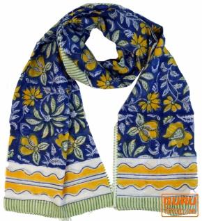 dünnes Tuch, Sarong, Wandbehang, Wickelrock, Sarongkleid - blau Kombination 8