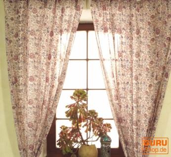 Boho Vorhänge, Gardine (1 Paar ) mit Schlaufen, leicht transparenter handbedruckter ethno Style Vorhang - Muster 1