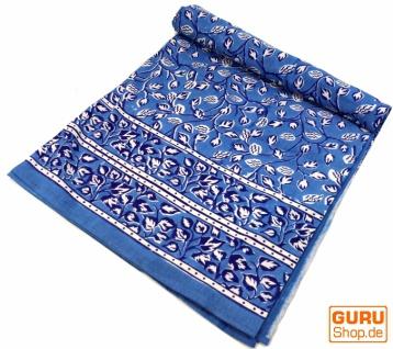 Blockdruck Tagesdecke, Bett & Sofaüberwurf, handgearbeiteter Wandbehang, Wandtuch - Blau Zweige