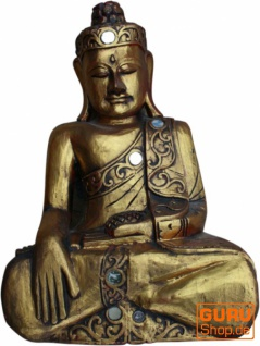 Großer Holzbuddha, Buddha Statue, Handarbeit, gold - Modell 1