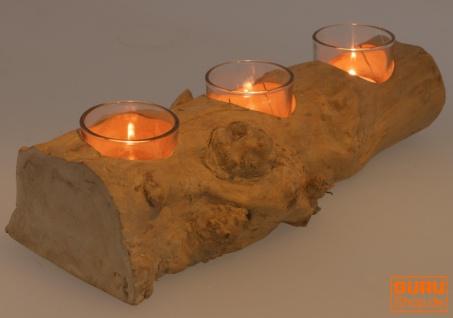 Kerzenleuchter aus Wurzelholz - mit 3 Kerzengläsern - Vorschau 2