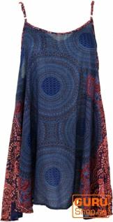 Boho Mandala Minikleid, Trägerkleid, Strandkleid - dunkelblau/fuchsia