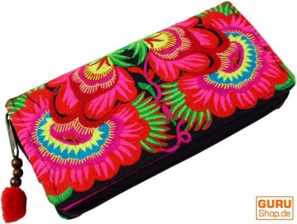 Besticktes Ethno Portemonnaie Chiang Mai, Boho Geldbeutel - pink/blau