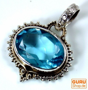 Silberanhänger, Indischer Boho Kettenanhänger - facettiertem Aquamarine