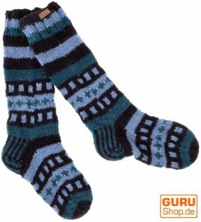 Handgestrickte Schafwollsocken, Nepal Socken - blau