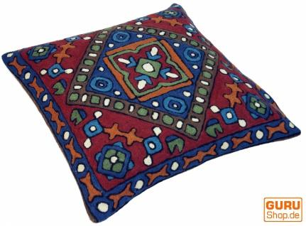 Kelim Kissenhülle `Kaschmir`, bestickter Kissenbezug, Dekokissen aus Wolle - Muster 12