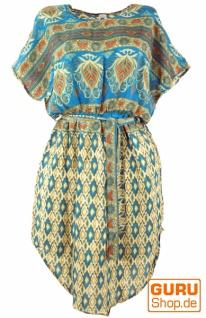 BohoTunika, Ikat Minikleid mit Gürtel - türkis/beige