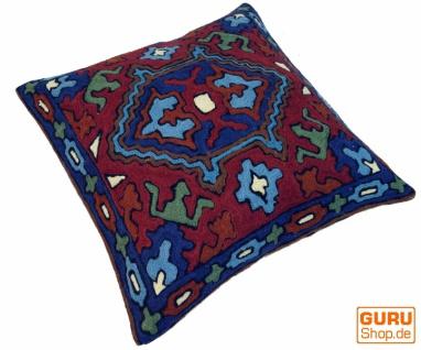 Kelim Kissenhülle `Kaschmir`, bestickter Kissenbezug, Dekokissen aus Wolle - Muster 18