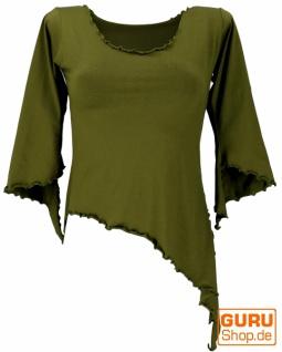 Psytrance Elfen Shirt Goa chic mit ausgestellten Ärmeln - olive