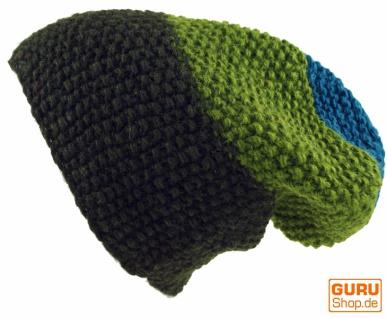 Wollmütze mit Perlmuster, Nepalmütze mit Streifenmuster - grün/bunt