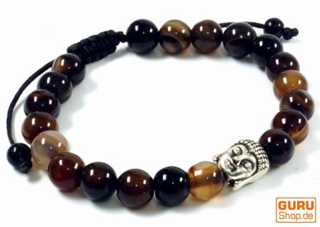 Mala, Buddha Armband , Handmala Achat schwarz - Modell 27