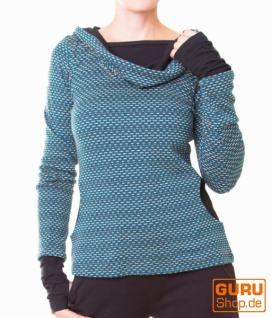 Pullover aus Bio-Baumwolle mit Kapuze / Chapati Design - petrol polka
