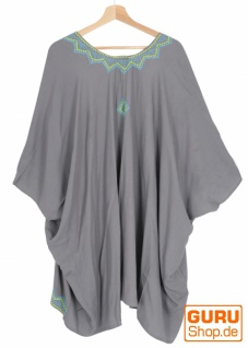 Kurzer bestickter Sommer Kimono, Kaftan, Strandkleid - grau - Vorschau 2