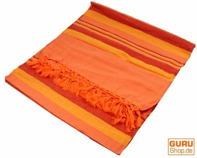 Weiche gewebte double Tagesdecke `Kerala` aus Baumwolle mit Fransen - orange/gestreift