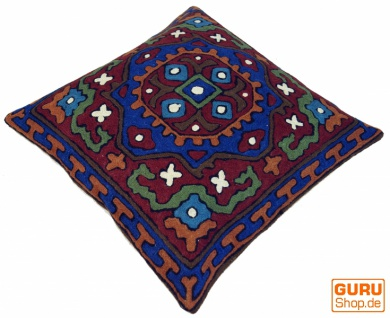 Kelim Kissenhülle `Kaschmir`, bestickter Kissenbezug, Dekokissen aus Wolle - Muster 16