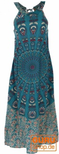 Langes Boho Sommerkleid, indisches Maxikleid - petrol