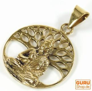Amulett `Buddha unterm Bodhi Baum`, Ethno Kettenanhänger aus Messing - gold