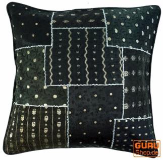 Orientalische Kissenhülle, Kissenbezug Saree Patchwork - schwarz