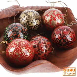 Upcyceling Weihnachtskugel Set aus Pappmachee, Handbemalter Christbaumschmuck, Kaschmirkugeln - rot/schwarz