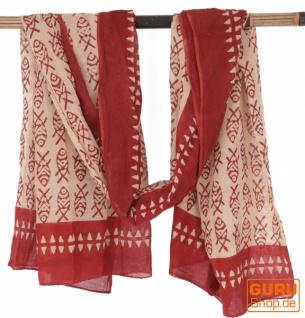 Leichter Pareo, Sarong, handbedrucktes Baumwolltuch - rot Kombination 24