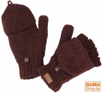 Handschuhe, handgestrickte Klapphandschuhe, Wollhandschuhe uni - bordeaux