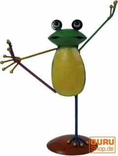 Deko Frosch, Yogafrosch aus buntem Metall - Design 2