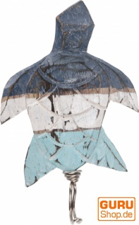 Maritimer Holz Kleiderhaken, Wandhaken - Schildkröte