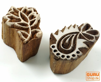 Indischer Textilstempel, Holz Stoffdruckstempel, Blaudruck Stempel, Druck Modell - Set 16