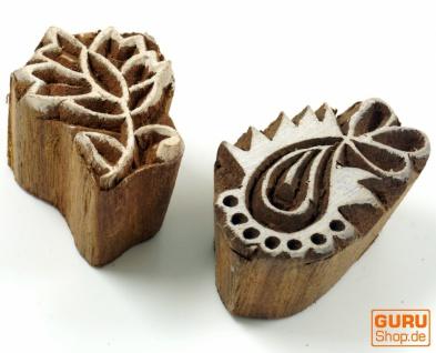 Indischer Textilstempel, Stoffdruckstempel, Blaudruck Stempel, Holz Modell - Set 16