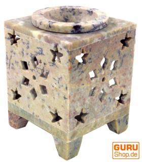 Indische Duftlampe, ätherisches Öl Diffusor, Teelicht Halter für Aromatherapie, Aromalampe aus Speckstein - Würfel Stern