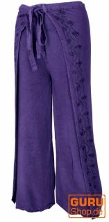 Palazzohose, langer Boho Hosenrock, Wickelhose, Sommerhose violett - Modell 1