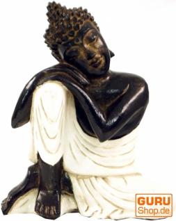 Geschnitzte sitzender Buddha Figur, träumender Buddha - weiß/links