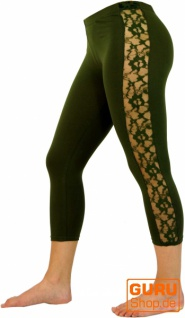 3/4 Psytrance, Goa Damen Leggings, Festival Party Hose mit Spitze - olive 1