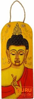 Handgemaltes Buddha Wandbild auf Holz - gelb