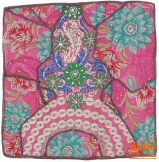 Patchwork Kissenhülle, Dekokissen Bezug aus Rajasthan, Einzelstück - Muster 38