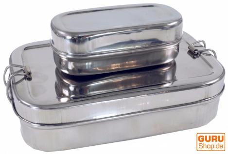 Stabile Edelstahl Brotdose, Frühstücksbox, eco friendly metall Lunchbox, Vesperbox - 2èr Set A