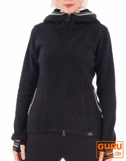 Jacke mit Kapuze aus Bio-Baumwolle / Chapati Design - black