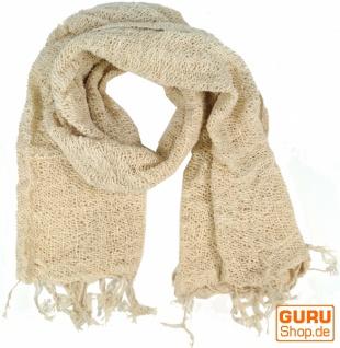 Baumwoll Strickschal - wollweiß
