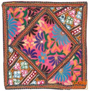 Patchwork Kissenhülle, Dekokissen Bezug aus Rajasthan, Einzelstück - Muster 36