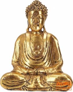Holzbuddha, Buddha Statue, Handarbeit mit Goldbemalung (27 cm) - Modell 14