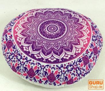 Flaches Mandala Meditationskissen, Yoga Kissen, Sitzkissen, Bodenkissen, Dekokissen - pink