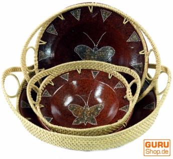 Runde umflochtene Keramikschale, Obstschale, Dekoschale - Design 5