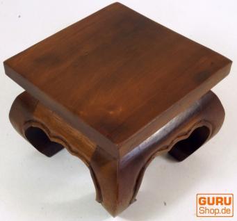 Mini Opiumtisch, Blumenbank aus Massivholz - braun 25*25 cm - Vorschau 3