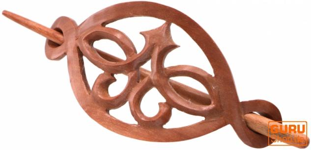 Ethno Holz Haarspange mit Stab, Boho Haarschmuck - Ornament