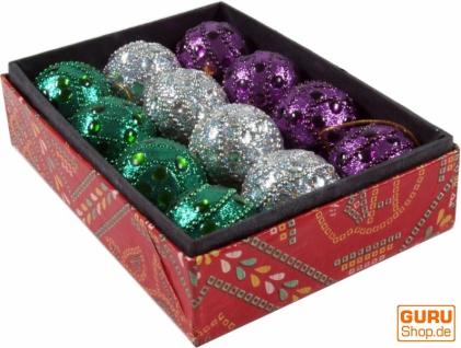 12 kleine Glitterkugeln in 2 Farbvariationen