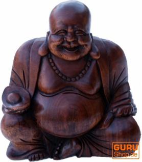 Lucky Holzbuddha Statue dunkel, 16 cm - Modell 3