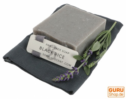 Handgemachte Duftseife im Baumwollsäckchen, 100 g Fair Trade - Black Rice - Vorschau 3