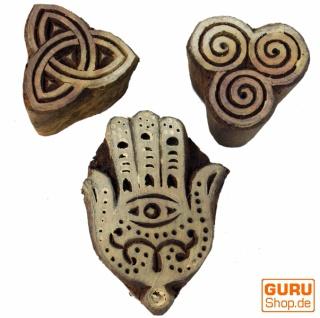 Indischer Textilstempel, Stoffdruckstempel, Blaudruck Stempel, Holz Model - Set 4