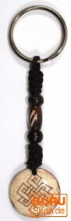 Ethno Tibet Sclüsselanhänger, Gravierter Taschenanhänger - Endlosknoten - Vorschau