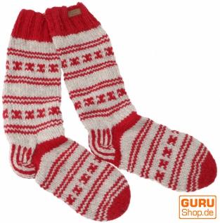 Handgestrickte Schafwollsocken, Nepal Socken 44-46 - rot/grau